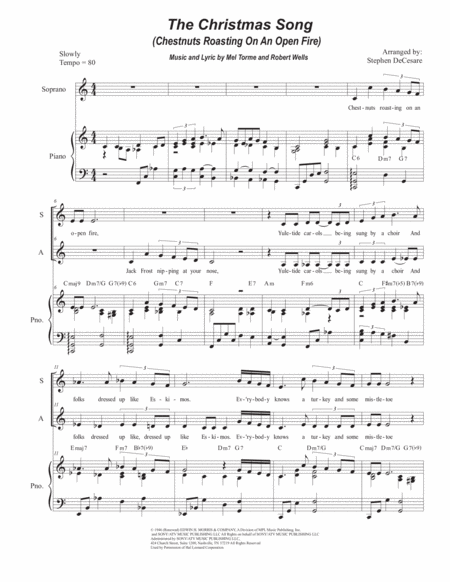 The Christmas Song (Chestnuts Roasting On An Open Fire) (Duet for Soprano and Alto Solo)