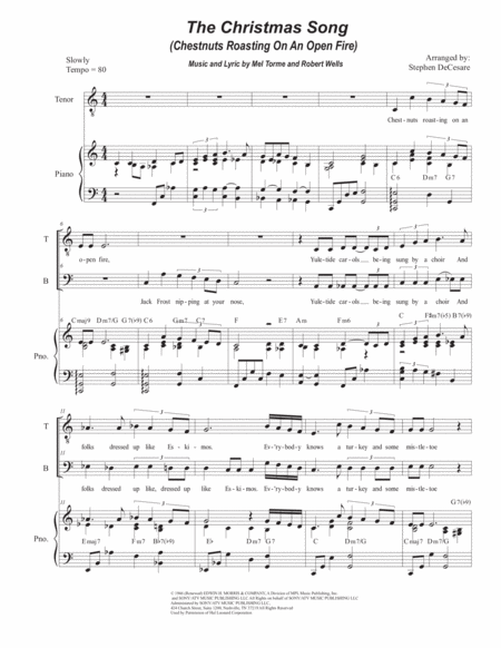 The Christmas Song (Chestnuts Roasting On An Open Fire) (Duet for Tenor and Bass Solo)