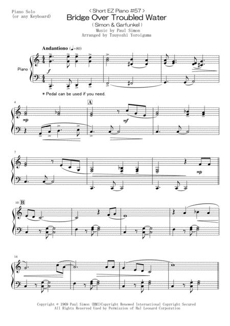 < Short EZ Piano #57 > Bridge Over Troubled Water (Simon & Garfunkel)
