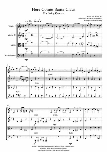 Here Comes Santa Claus (For String Quartet, including part scores)
