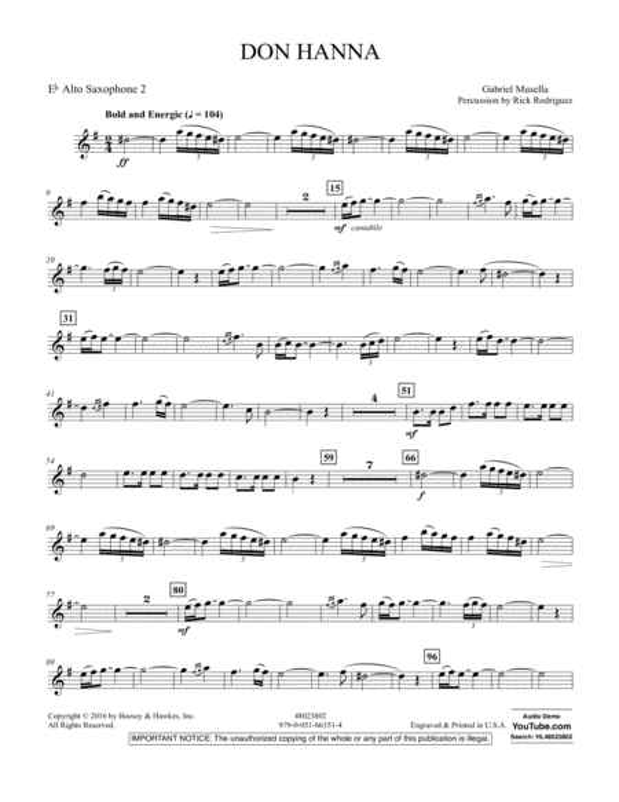 Don Hanna - Eb Alto Saxophone 2