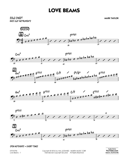 Love Beams - Bass Clef Solo Sheet