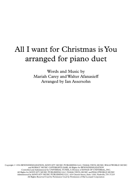 All I Want For Christmas Is You arranged for piano duet