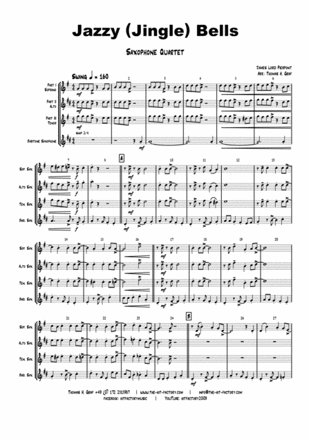 Jazzy Jingle Bells - Christmas Swing - Saxophone Quartet