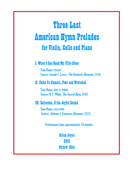 Three Last American Hymn Preludes for Violin, Cello and Piano