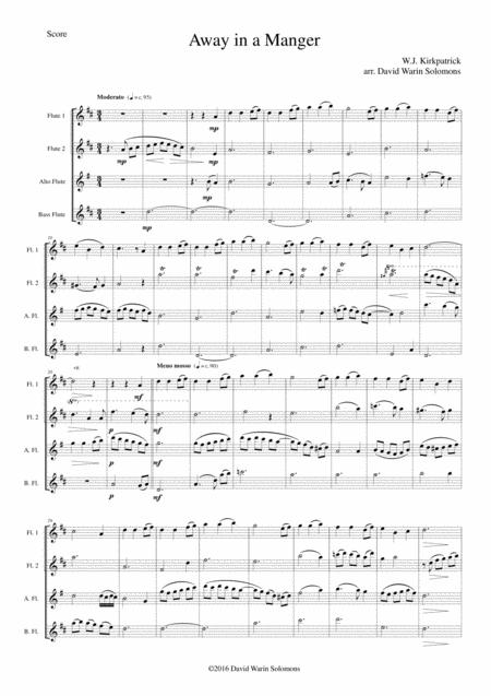 Away in a manger for flute quartet