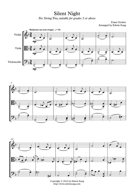 Silent Night (string trio,grades >3,part scores included)