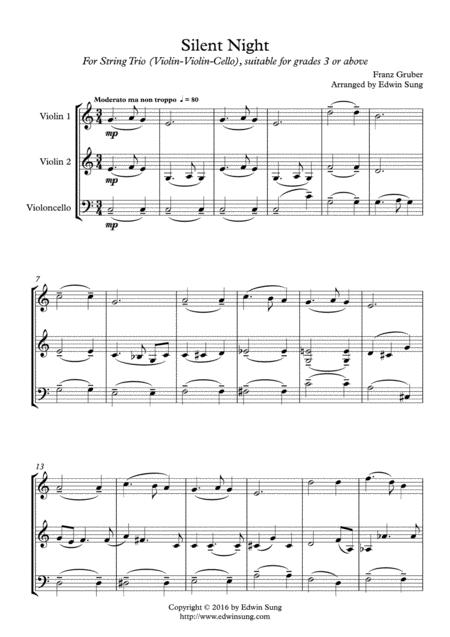 Silent Night (string trio (violin-violin-cello),grades >3,part scores included)