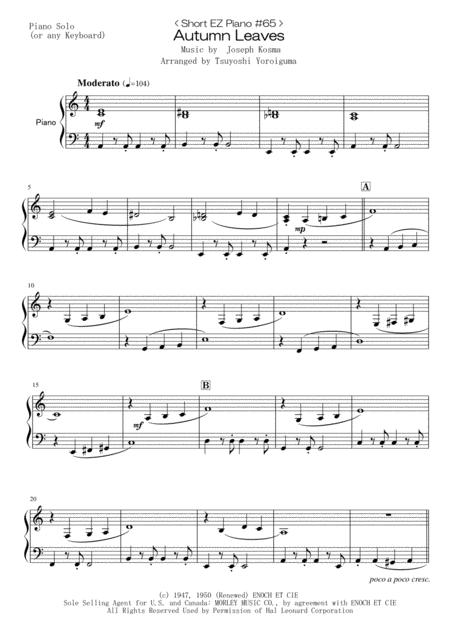 < Short EZ Piano #65 > Autumn Leaves