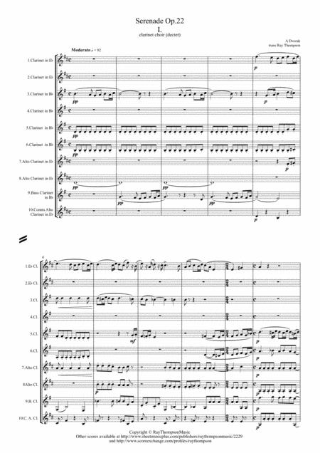 Dvorak: Serenade for Strings Op.22 Mvt. I - clarinet choir (dectet/decet)