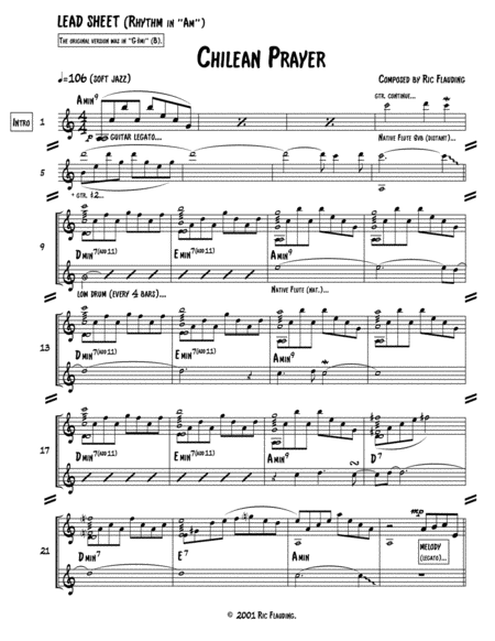 Chilean Prayer (Lead Sheet & Additional Parts)