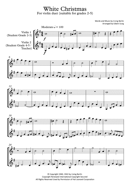 White Christmas (violin duet,~grades 2-5,part scores included)