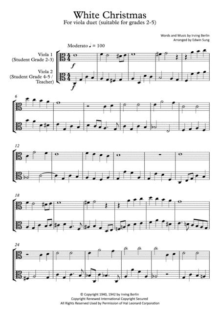 White Christmas (viola duet,~grades 2-5,part scores included)
