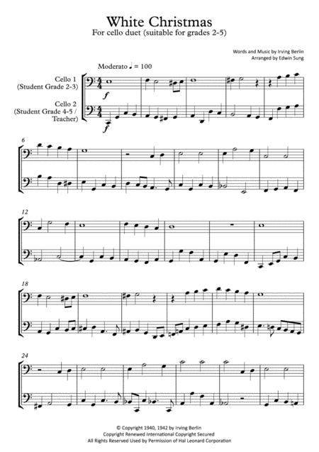 White Christmas (cello duet,~grades 2-5,part scores included)
