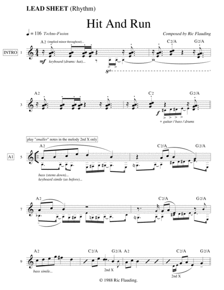 Hit And Run (Lead Sheet)