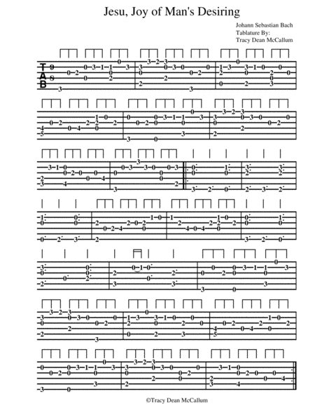 Jesu, Joy of Man's Desiring Guitar Tab