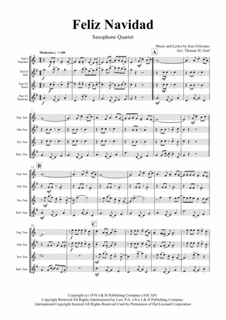 Feliz Navidad - Christmas Classic - Saxophone Quartet