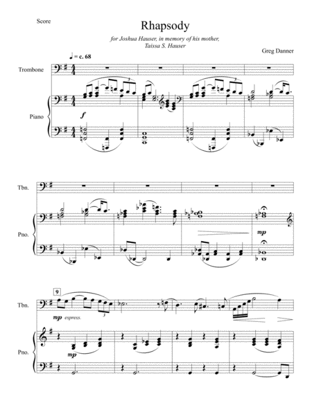 Rhapsody for Trombone and Piano