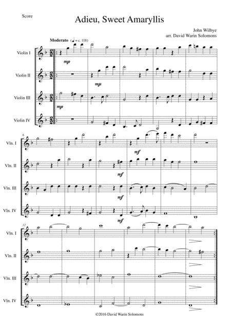 Adieu sweet Amaryllis for violin quartet