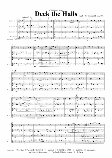 Deck the halls - Christmas Carol - Polyphonic - Clarinet Trio
