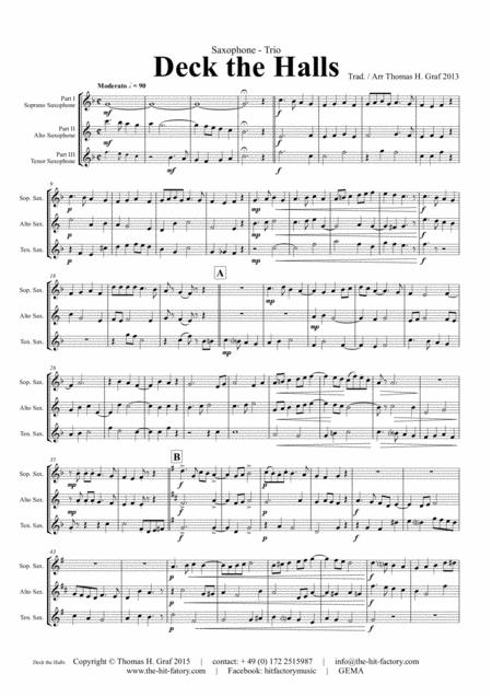 Deck the halls - Christmas Carol - Polyphonic - Saxophone Trio