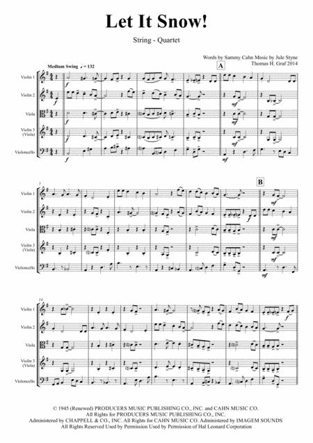 Let It Snow! Let It Snow! Let It Snow! - Christmas Song by Sammy Cahn - Swing - String Quartet