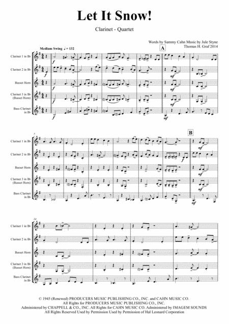 Let It Snow! Let It Snow! Let It Snow! - Christmas Song by Sammy Cahn - Swing - Clarinet Quartet