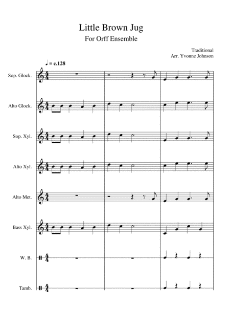 Little Brown Jug - For Orff Ensemble
