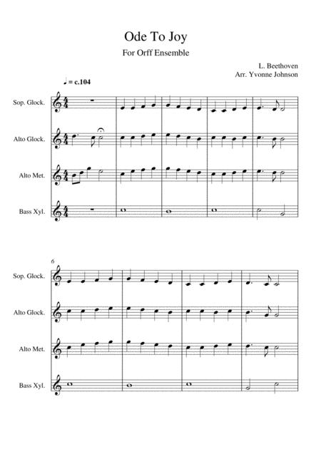 Ode To Joy - For Orff Ensemble