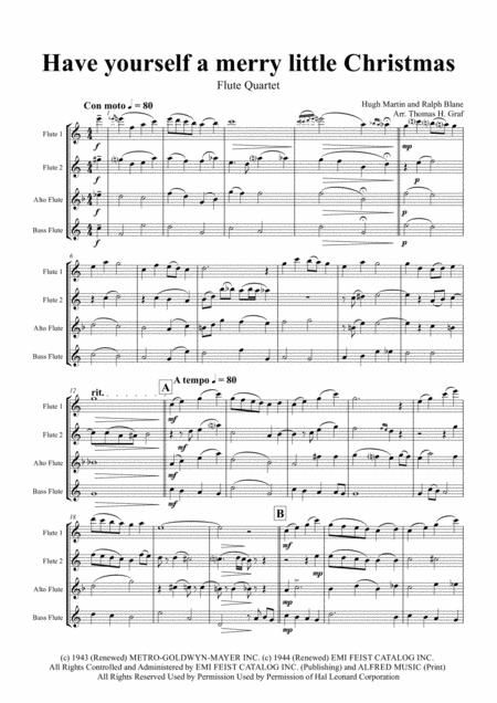 Have yourself a merry little Christmas from MEET ME IN ST. LOUIS - Flute Quartet