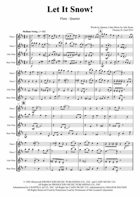 Let It Snow! Let It Snow! Let It Snow! - Christmas Song by Sammy Cahn - Swing - Flute Quartet