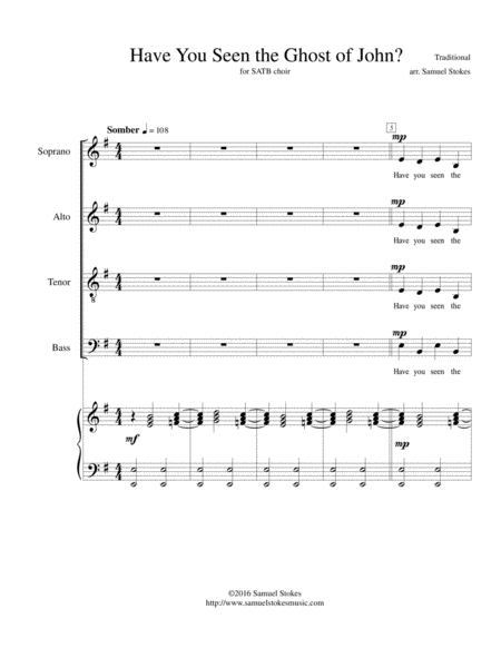 Have You Seen the Ghost of John? - for SATB choir