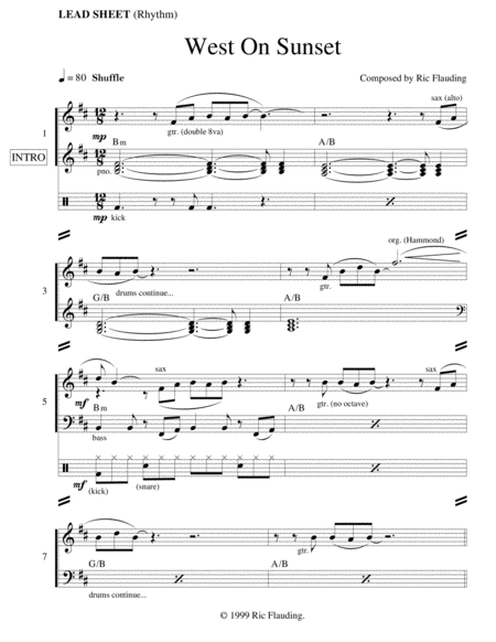 West On Sunset (Lead Sheet)