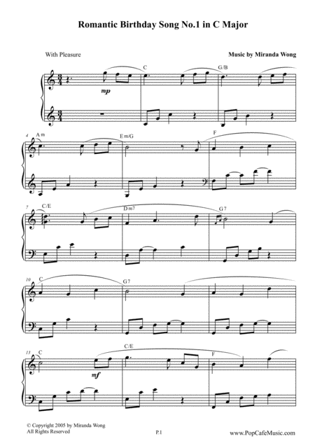 Happy Birthday to You - Romantic Piano Version No.1 in C Key (With Chords)
