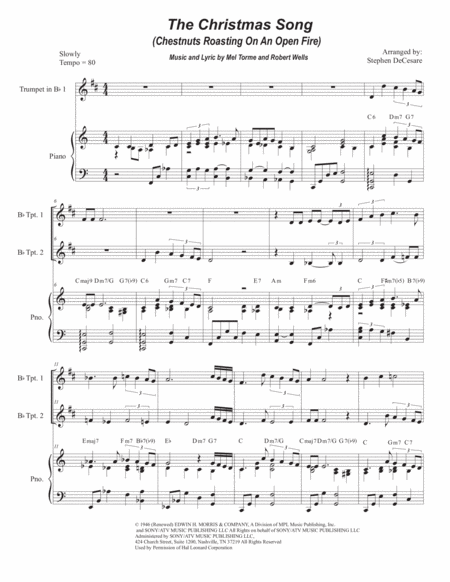 The Christmas Song (Chestnuts Roasting On An Open Fire) (Duet for Bb-Trumpet)