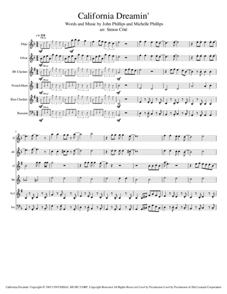 California Dreamin' (for Variable Woodwind Quintet)