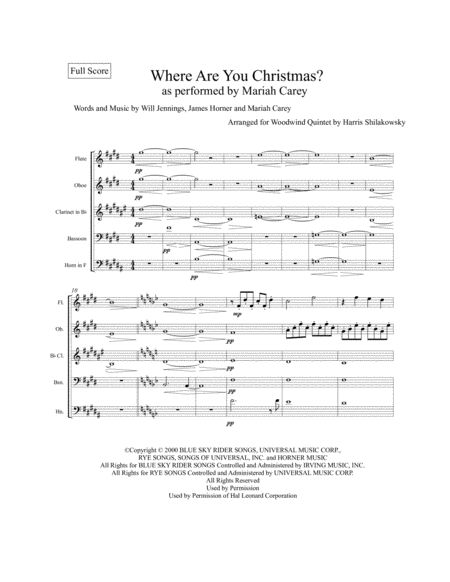 Where Are You Christmas? Woodwind Quintet