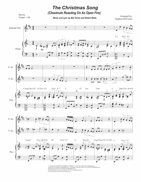 The Christmas Song (Chestnuts Roasting On An Open Fire) (Duet for Soprano and Tenor Saxophone)