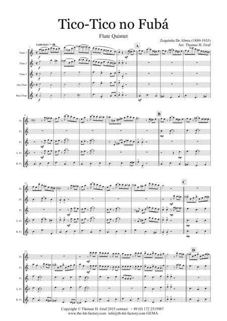 Tico-Tico no Fubá - Choro - Flute Quintet