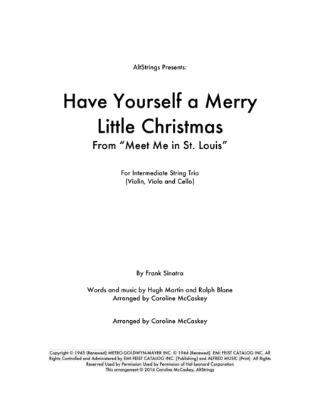 Have Yourself A Merry Little Christmas - String Trio (Violin, Viola and Cello)