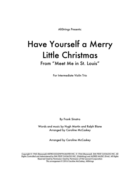 Have Yourself A Merry Little Christmas - Violin Trio