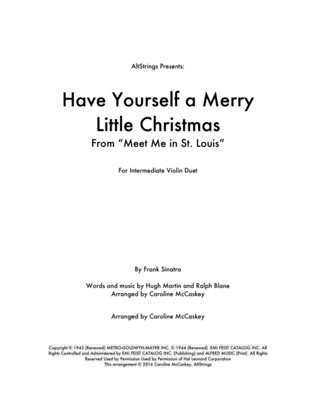 Have Yourself A Merry Little Christmas - Violin Duet