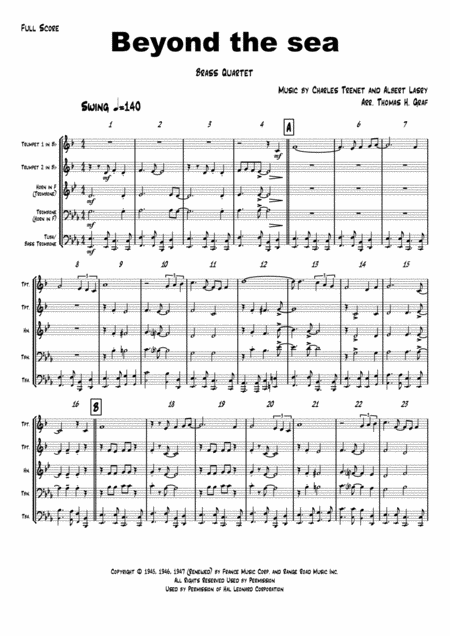 Beyond The Sea - Robby Williams ( Bobby Darin)  - Brass Quartet
