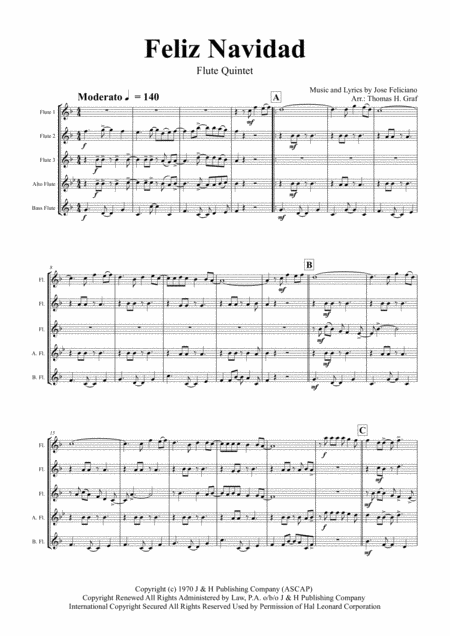 Feliz Navidad - Christmas Classic - Flute Quintet