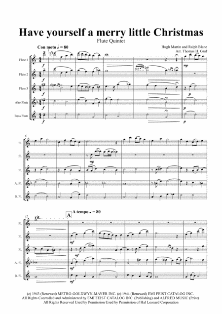 Have yourself a merry little Christmas from MEET ME IN ST. LOUIS - Flute Quintet