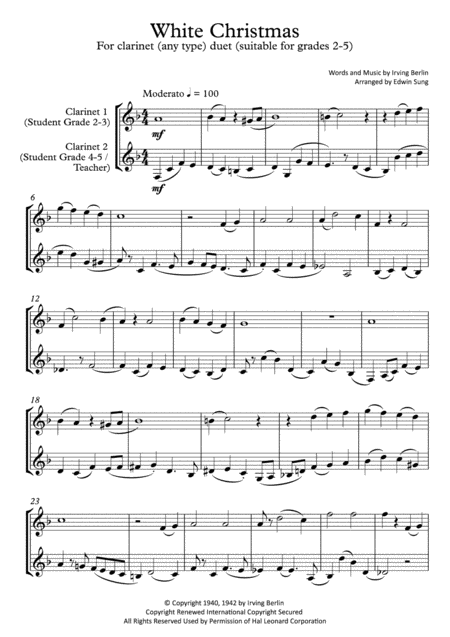 White Christmas (clarinet (any type) duet,~grades 2-5,part scores included)