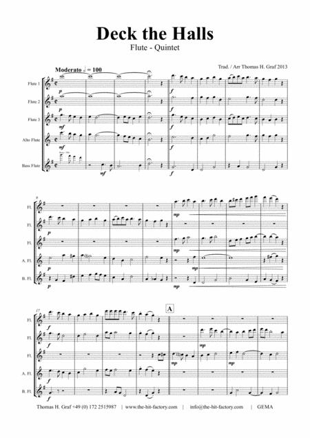 Deck the halls - Christmas Carol - Polyphonic - Flute Quintet