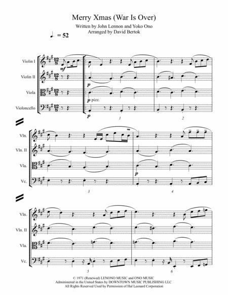 Happy Xmas (War Is Over) - string quartet