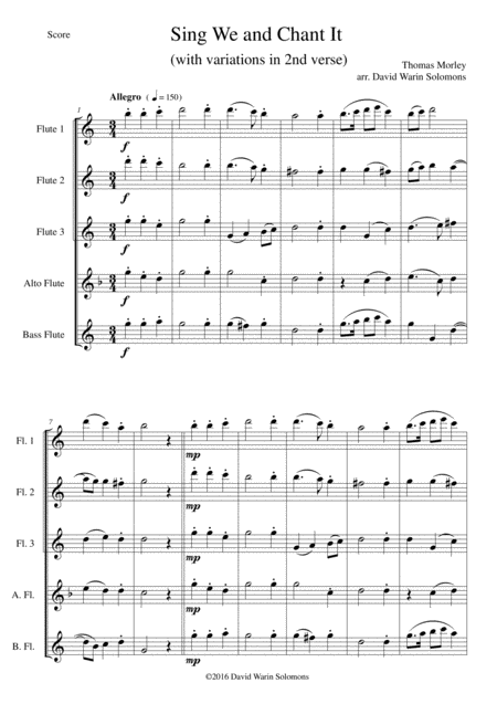 Sing we and chant it (with variations) for flute quintet