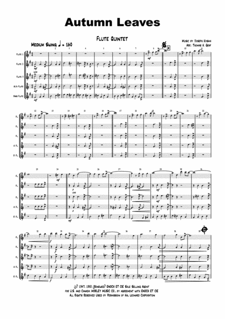 Autumn Leaves - Jazz Classic - Les feuilles mortes - Flute Quintet